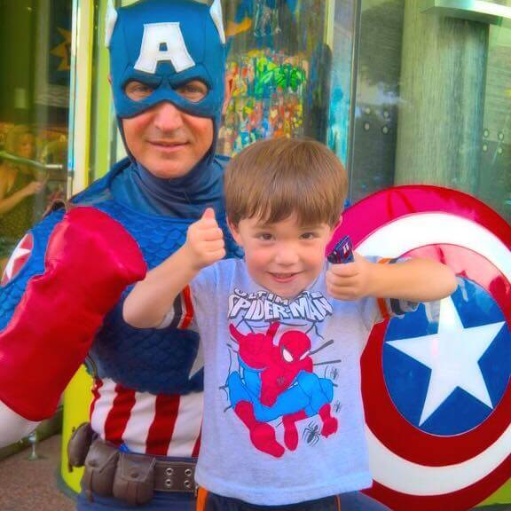 Captain America at Universal Studios Orlando with a toddler