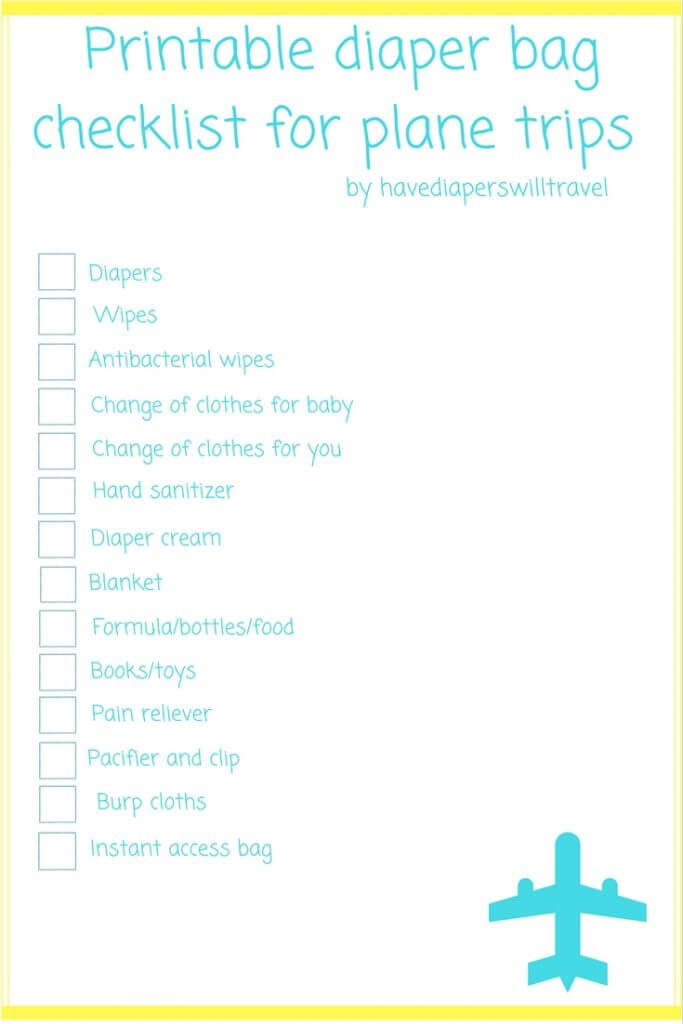 diaper bag checklist for plane trips